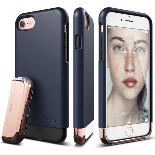 S7 Glide for iPhone 7- Jean Indigo+Chrome RoseGold