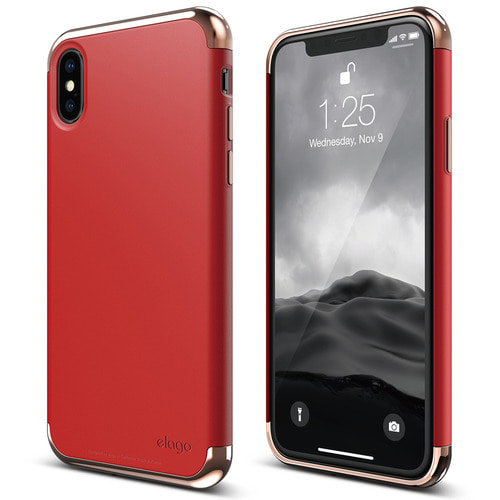 SX Empire case for iPhone X - Rose Gold+Red