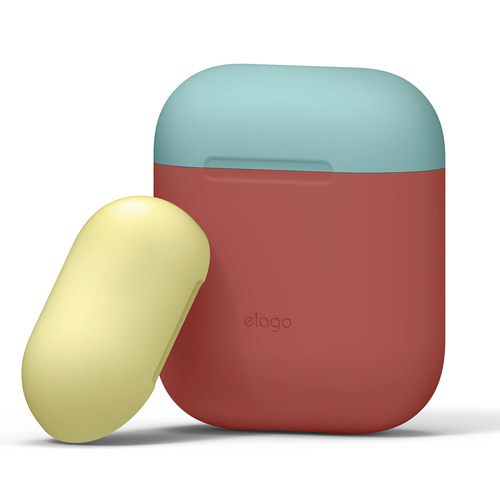 Airpods Duo Case / Italian Rose+Coral Blue,Creamy Yellow