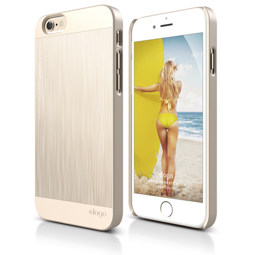 S6P(플러스) Outfit MATRIX Aluminum Case for iPhone 6 Plus_ (필름포함) - Champagne Gold + Champagne Gold