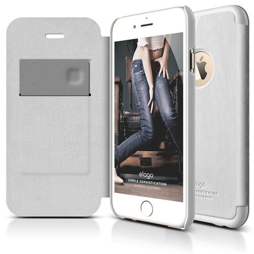 IPhone 6플러스전용 Leather hole Flip Case / White + White